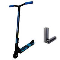 Самокат трюковый с колесами 100 мм черный с синим + Подарок. Самокат трайк