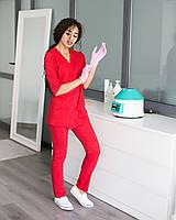 Медицинский женский костюм Шанхай красный, фото 1