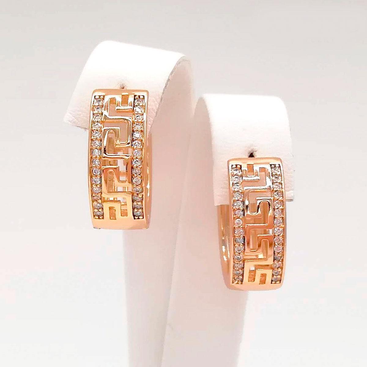 Серьги Xuping из медицинского золота, белые фианиты, позолота 18K, 24594