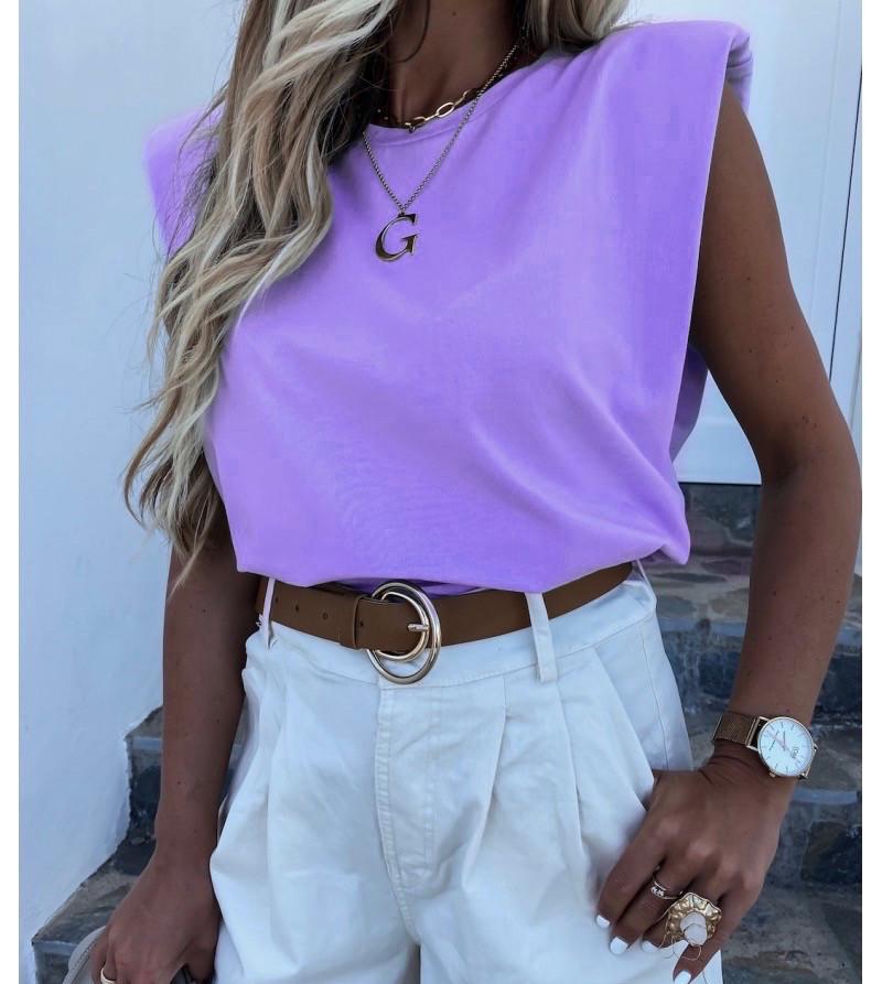 Женская футболка, коттон, р-р С-М; М-Л (сиреневый)