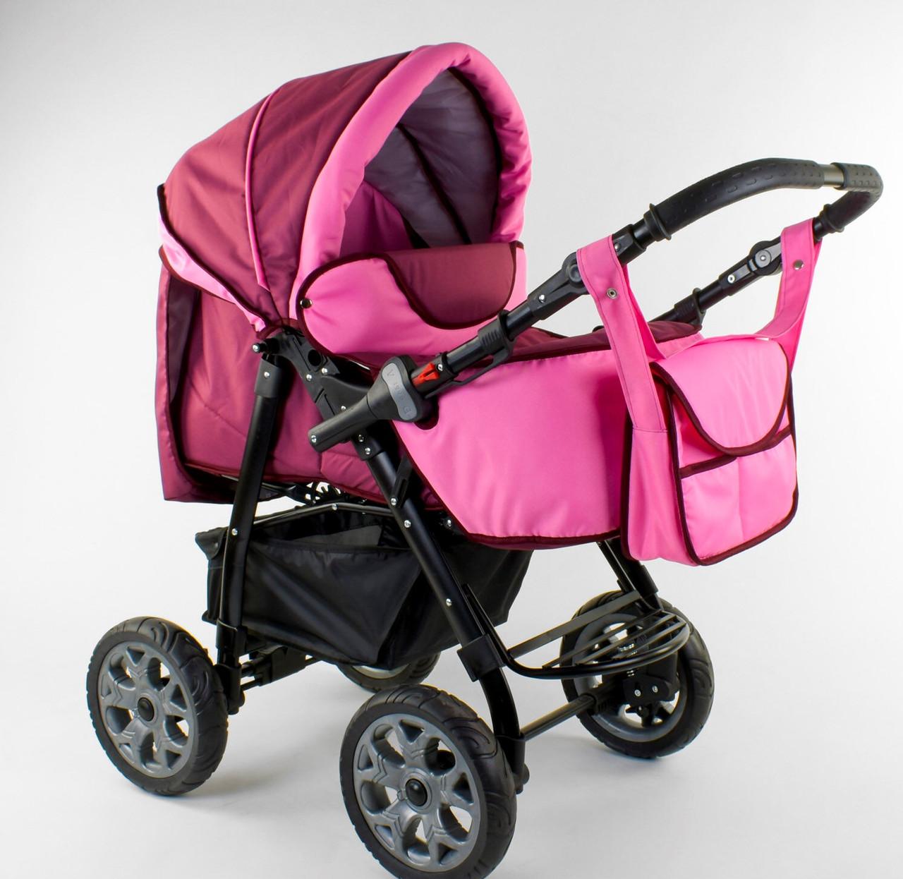 Детская коляска-трансформер Viki 86- C 41 малиновая Гарантия качества Быстрая доставка