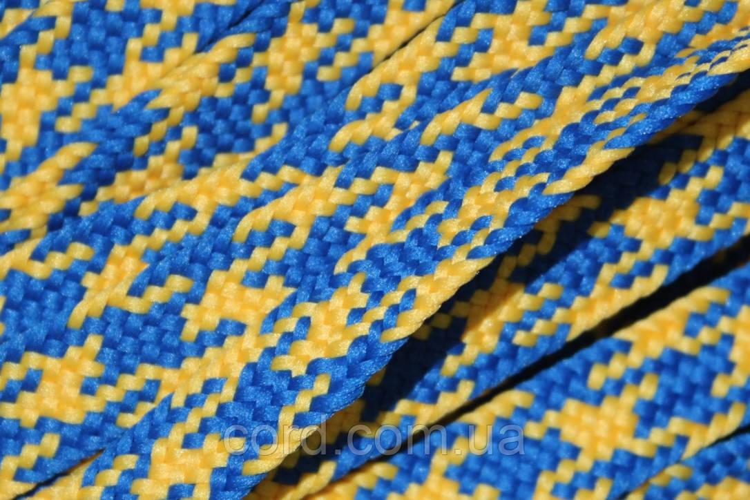 Шнур плоский тесьма 12мм (100м)  желтый+василек