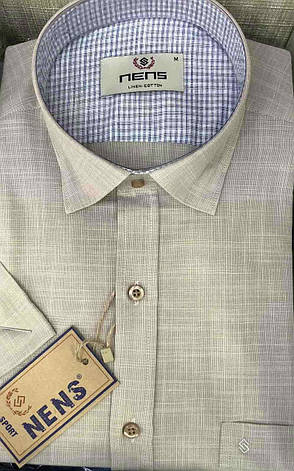Однотонная льняная рубашка Nens, фото 2
