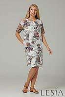 Летнее платье Lesia Гюфо норма батал коттон вискоза гипюр легкое полуприлегающее офисное повседневное