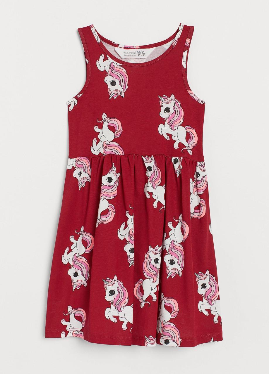 Летнее платье с единорогом на девочку H&M Швеция Размер 134-140