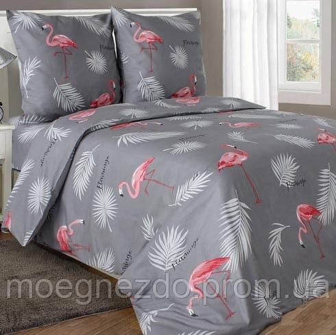 Полуторное постельное белье бязь гост фламинго на сером ТМ Блакит  хлопок 120 г/м. кв.