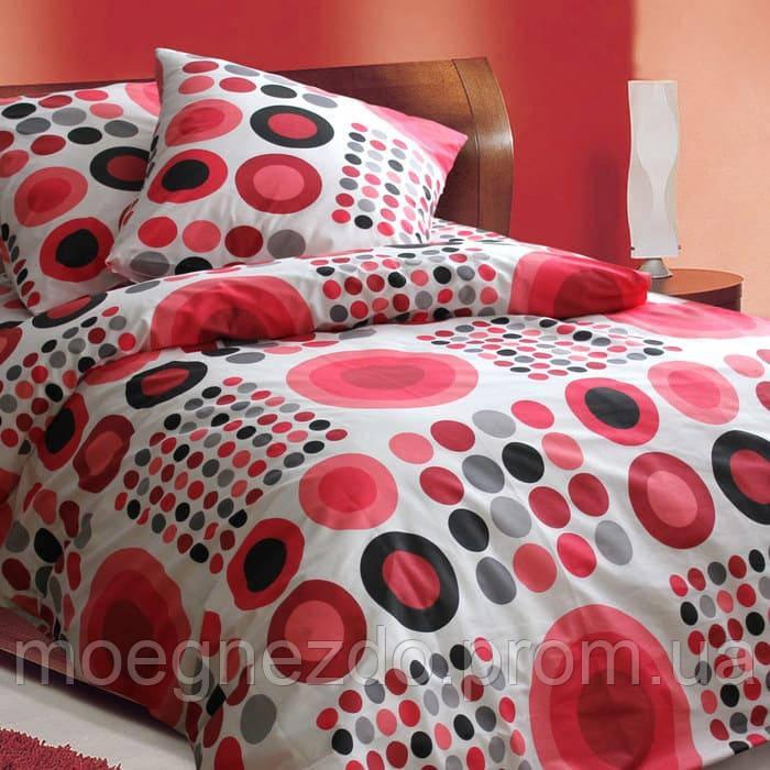 Полуторное постельное белье бязь красное круги ТМ Блакит  хлопок 120 г/м. кв.