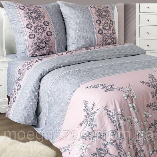 Полуторное постельное белье бязь серое розовое растения ТМ Блакит  хлопок 120 г/м. кв.