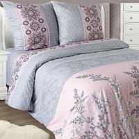 Полуторное постельное белье бязь серое розовое растения ТМ Блакит  хлопок 120 г/м. кв., фото 1
