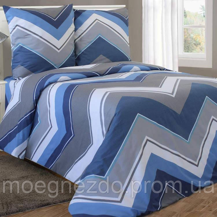 Полуторное постельное белье бязь гост сине-голубое зигзаги геометрия ТМ Блакит  хлопок 120 г/м. кв.