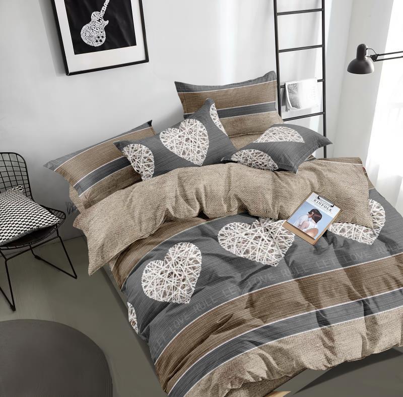 Двухспальный комплект постельного белья из бязи с сердечками