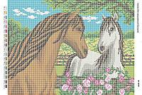 Схема для вышивания бисером ''Лошадки'' А2 42x59см