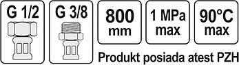 """З'єднувальний шланг F/M 1/2"""" 3/8"""" 800 мм Fala 71831, фото 3"""