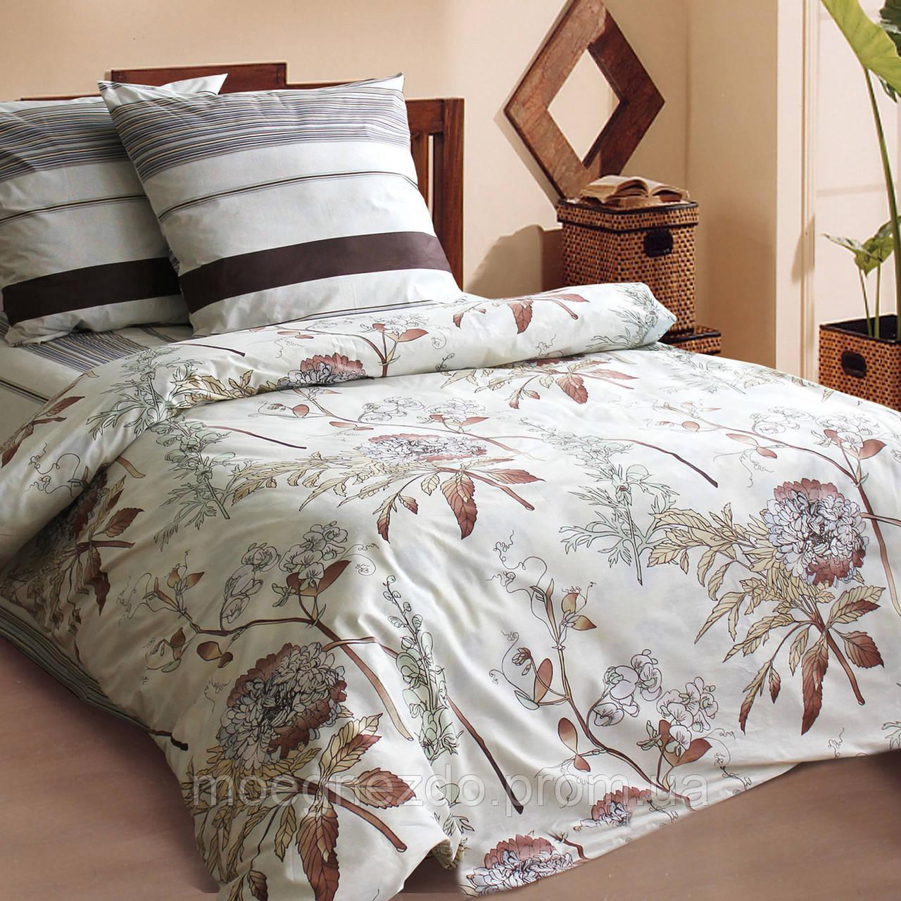 Полуторное постельное белье бязь коричневое мокко бежевое ТМ Блакит  хлопок 120 г/м. кв.