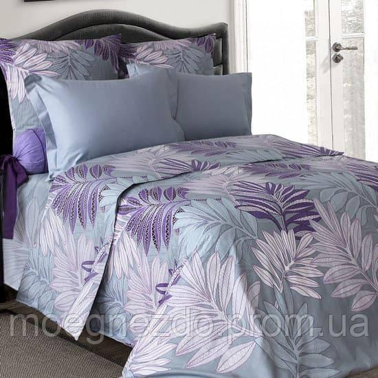 Полуторное постельное белье бязь  серое фиолетовое ветка пальмы ТМ Блакит  хлопок 120 г/м. кв.