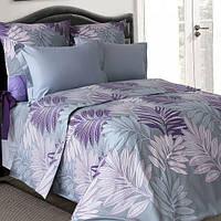 Полуторное постельное белье бязь  серое фиолетовое ветка пальмы ТМ Блакит  хлопок 120 г/м. кв., фото 1