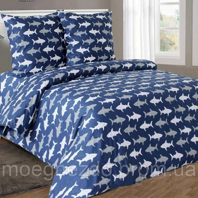 Полуторное постельное белье бязь гост акулы на синем  ТМ Блакит  хлопок 120 г/м. кв.