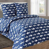 Полуторное постельное белье бязь гост акулы на синем  ТМ Блакит  хлопок 120 г/м. кв., фото 1