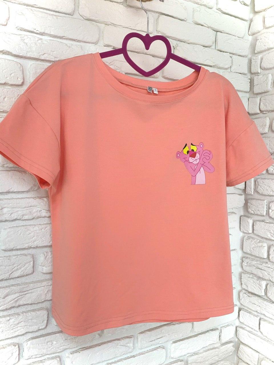 Женская Футболка хлопок с принтом Pink panther розовая пантера розовая