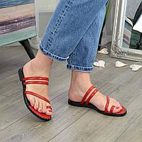 Шлепанцы/вьетнамки женские кожаные на низком ходу, цвет красный