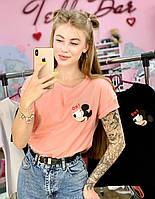 Футболка Женская хлопок розовая с принтом Mickey Mouse микки маус Ox