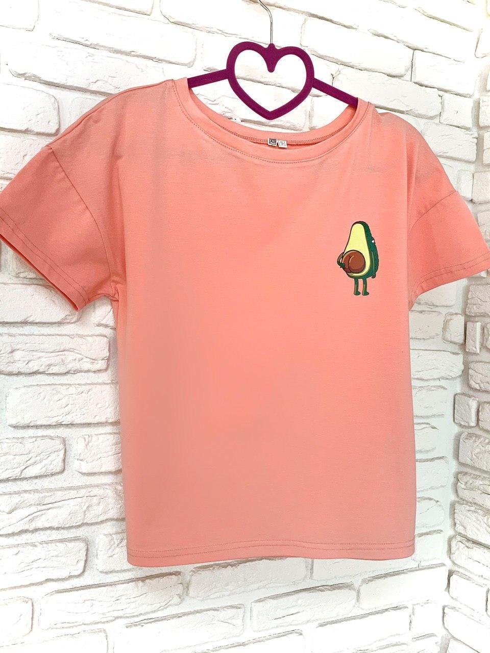 Женская Футболка хлопок с принтом Avocado розовая