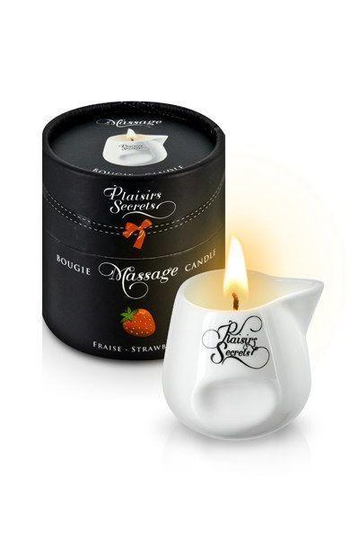 Массажная свеча Plaisirs Secrets Strawberry (80 мл) подарочная упаковка, керамический сосуд