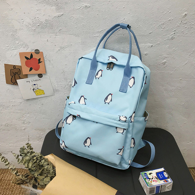 Сумка-рюкзак пингвины голубой