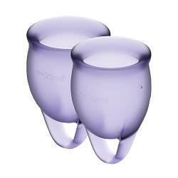 Набір менструальних чаш Satisfyer Feel Confident (lila), 15мл і 20мл, мішечок для зберігання