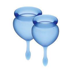 Набір менструальних чаш Satisfyer Feel Good (dark blue), 15мл і 20мл, мішечок для зберігання