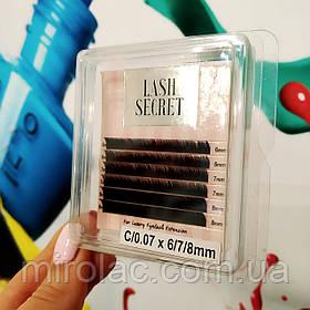 Ресницы для наращивания Lash Secret, C 0.07, 6,7,8 mm