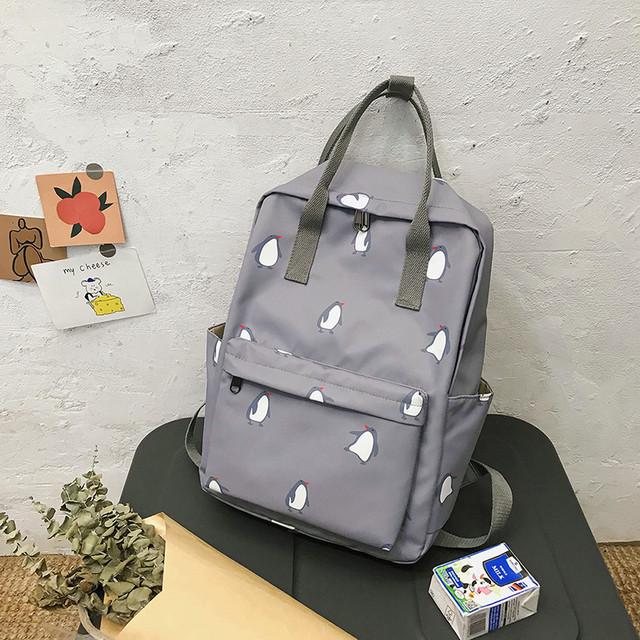 Сумка-рюкзак пингвины серый