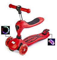Самокат-трансформер 2 в 1 для детей,Scale Sports, наличие сиденья, колеса светятся.