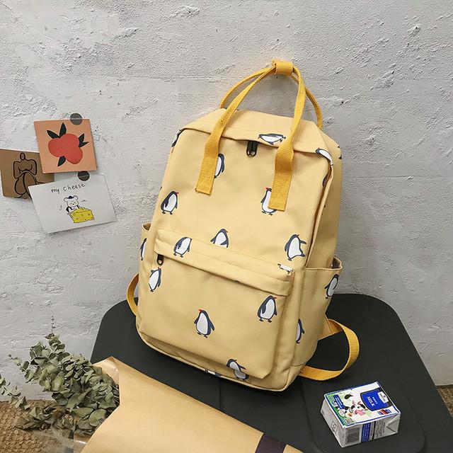 Сумка-рюкзак пингвины желтый