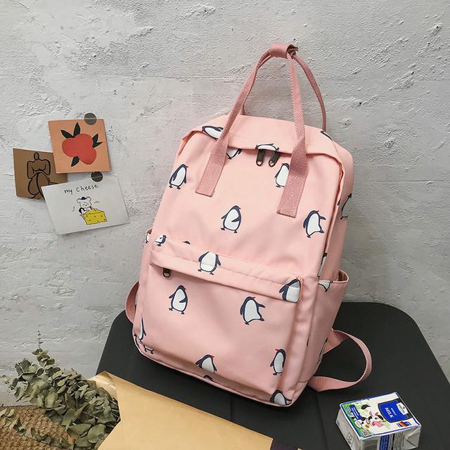 Сумка-рюкзак пингвины розовый