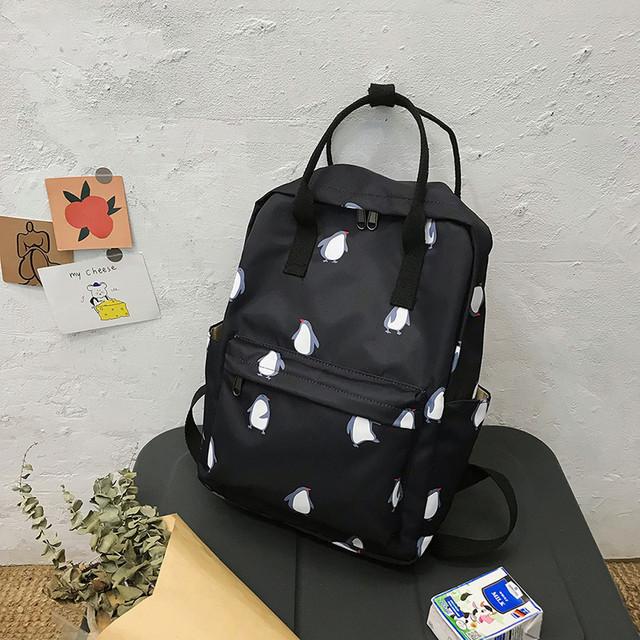 Сумка-рюкзак пингвины черный