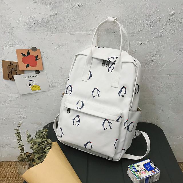 Сумка-рюкзак пингвины белый