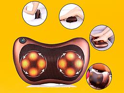 Массажная подушка подголовник массажер в машину  для спины и шеи Massage Pillow 8028