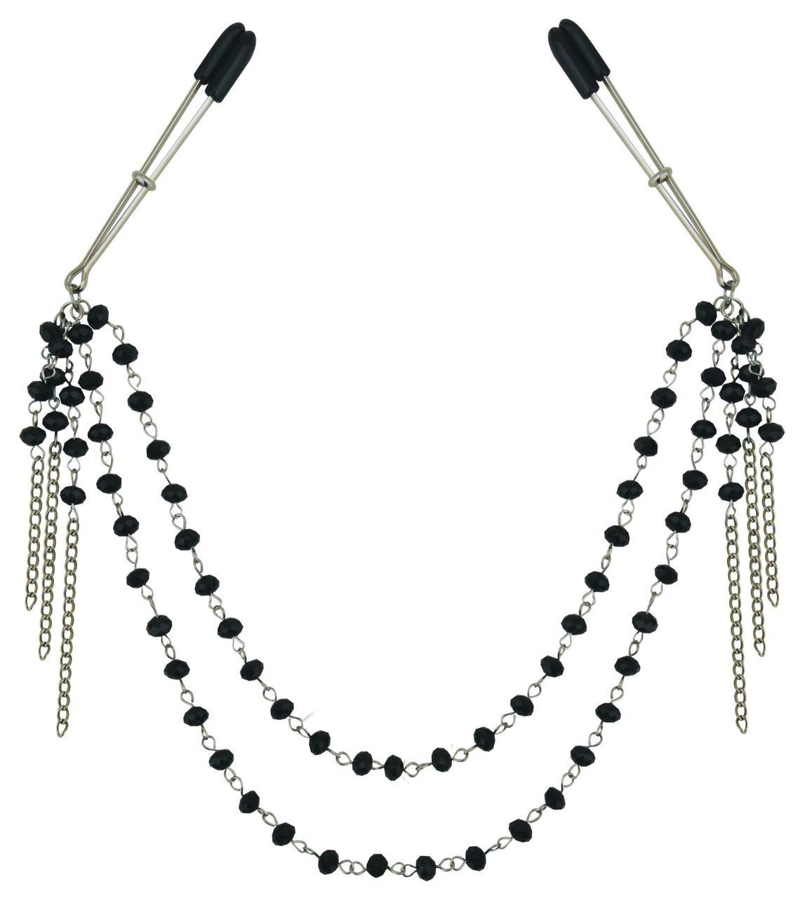 Украшение цепочка с зажимами для сосков Sportsheets Midnight Black Jeweled Nipple Clips