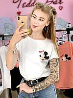 Футболка Женская хлопок белая с принтом Mickey Mouse микки маус Ox