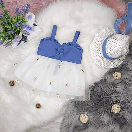 Повседневное детское летнее платье на девочку  2-3 года  +шлапа в комплекте, фото 2