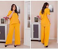 Женский летний костюм двойка блуза и штаны трикотаж жатка размер: 50-52,54-56,58-60,62-64