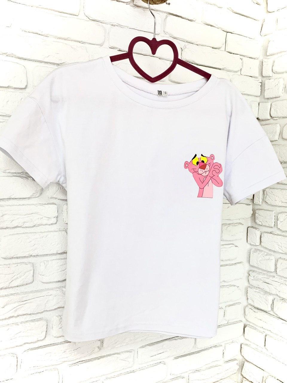 Женская Футболка хлопок с принтом Pink panther Розовая пантера белая