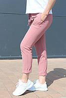 Брюки женские лён жатка стрейчевые на лето розовые / укороченные молодежные брюки капри