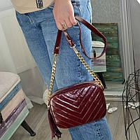 Кожаная женская сумка, цвет марсала. Производство Украина