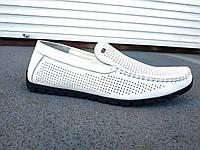 Мужские летние кожаные мокасины перфорация белые 40 -45 р-р, фото 1
