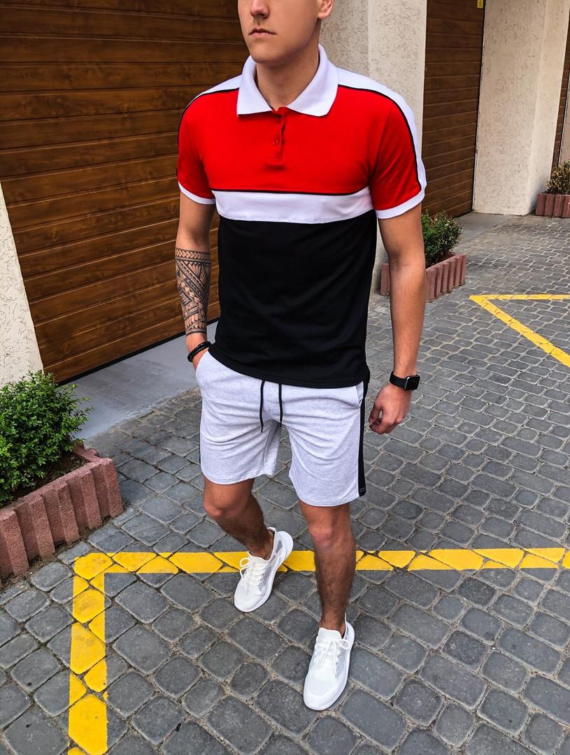 "Комплект футболка Поло+шорты Pobedov ""Salyami"" Red-white-black"