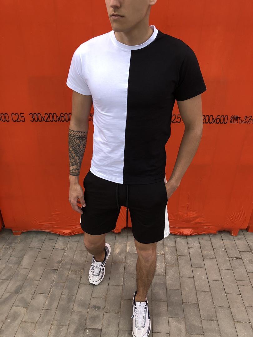 Комплект футболка +шорты  Pobedov Segmentation черно-белый вертикаль