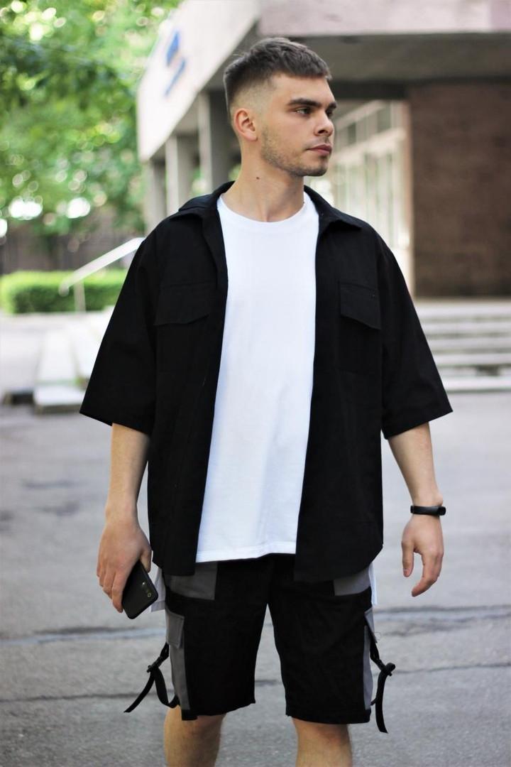 Комплект чоловічий сорочка/накидка+шорти VIDLIK (чорний)