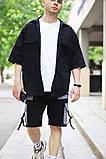 Комплект чоловічий сорочка/накидка+шорти VIDLIK (чорний), фото 3